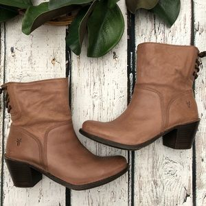 Frye Brown Leather Ankle Boots 10 Lace Up